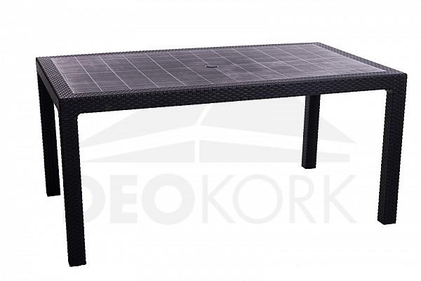 Záhradný stôl z umelého ratanu MANHATTAN 161 x 95 cm (antracit)