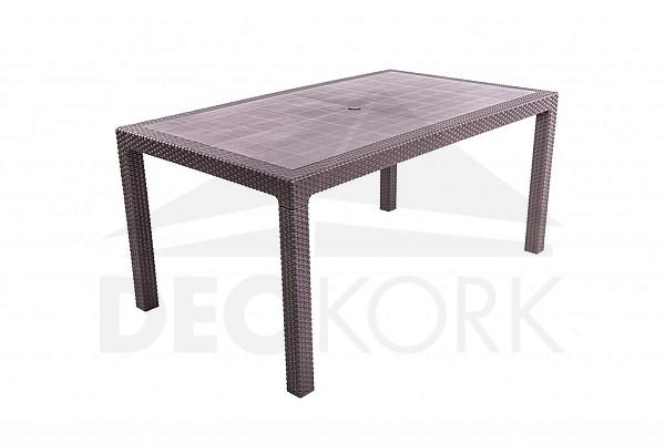 Záhradný stôl z umelého ratanu MANHATTAN 161x95 cm (hnedý)