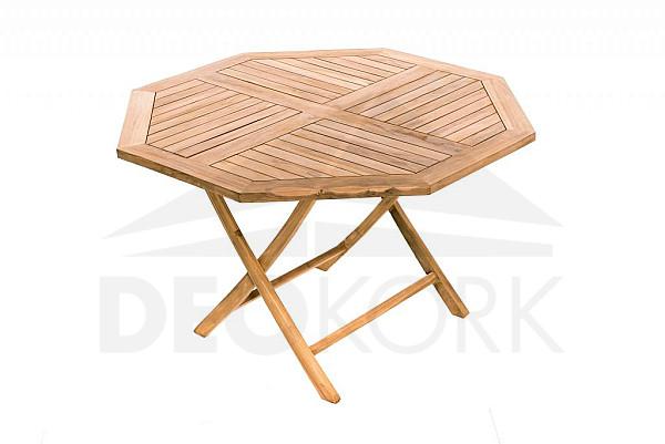 Záhradný skládací stôl osemuholník HAGEN ? 120 cm (teak)