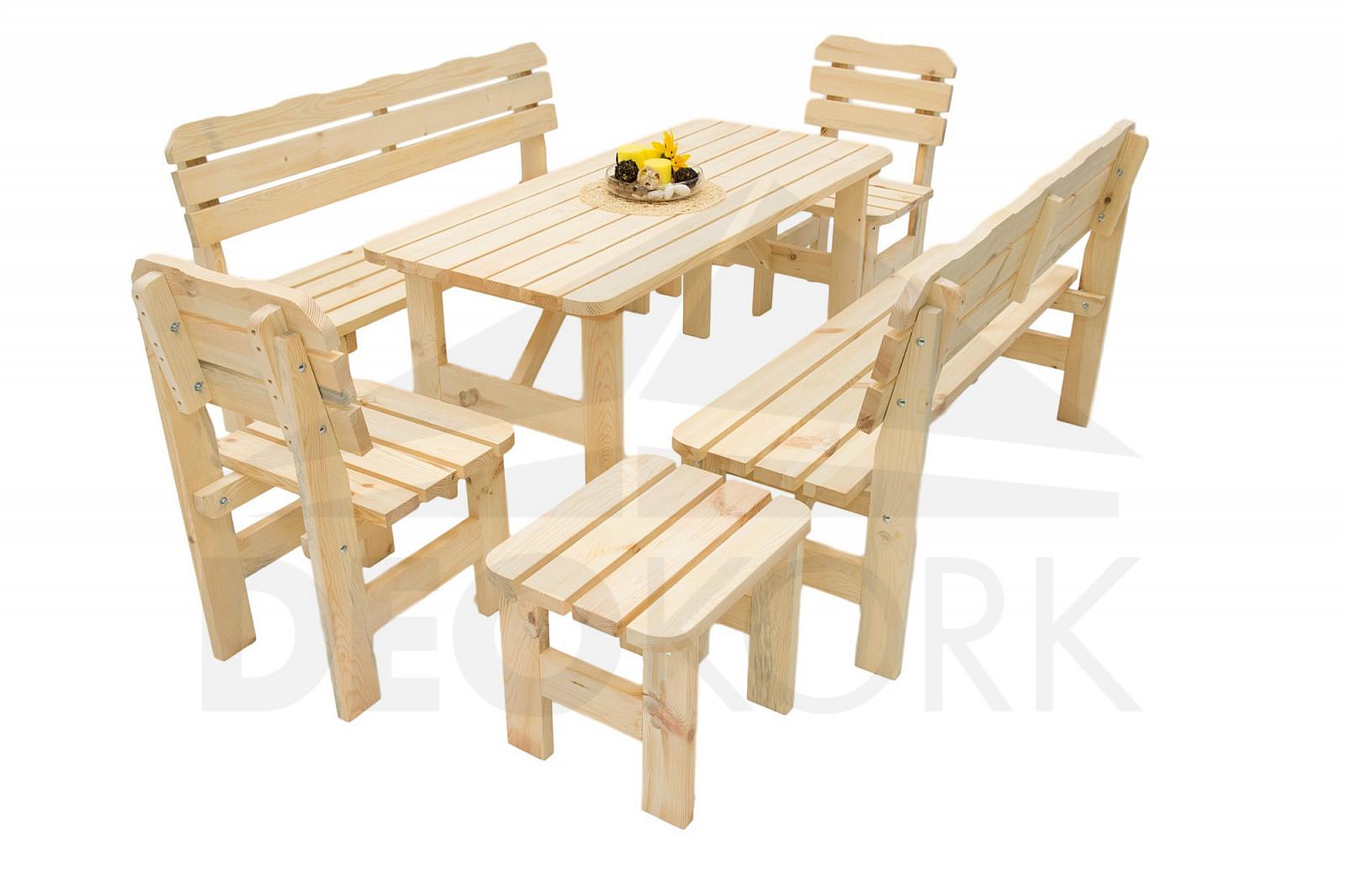 Masívna drevená záhradná zostava z borovice 1 +6 drevo 32 mm