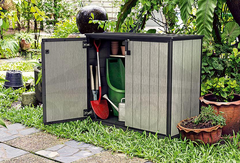 ee5d6f2158b11 Skrinka na náradie a záhradné doplnky a doplnky 140 x 77 x 120cm  (šedo-hnedá)