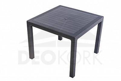 Záhradný stôl z umelého ratanu MANHATTAN 95x95 cm (antracit)