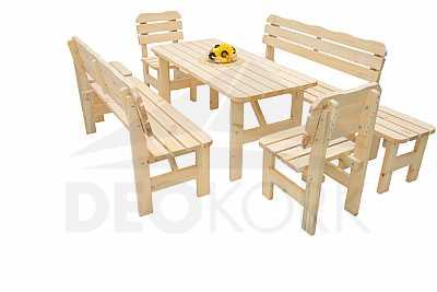 4b6f2c9a0ba9 Masívna drevená záhradná zostava z borovice 1 +6 drevo 32 mm